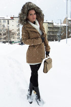 camel coat - black boots - ivory dress - black tights - tan bag - black gloves