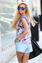 light blue Choies top - black bag - light blue bermuda shorts Sheinside shorts