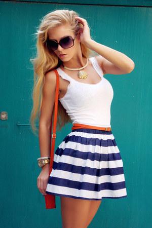 navy skirt - carrot orange bag - white top - carrot orange belt - tan sandals