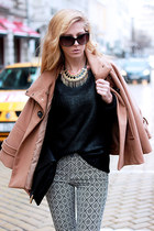 black sweater - white jeans - black bag - light brown cape - salmon necklace