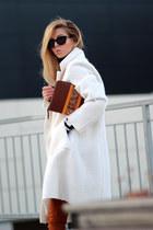 ivory romwe coat - burnt orange jeans - burnt orange Parfois bag - black blouse