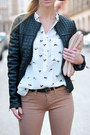 Black-jacket-tan-bershka-jeans-crimson-hat-white-choies-shirt-beige-bag