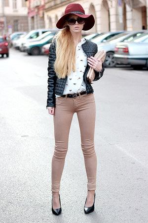 crimson hat - tan Bershka jeans - black jacket - white Choies shirt - beige bag