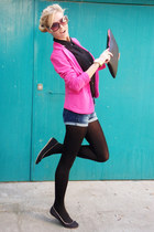hot pink blazer - black shirt - black bag - blue shorts - black flats
