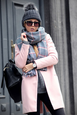 light pink pink coat Sheinside coat - black jeans - dark gray hat