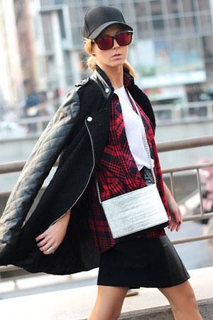 black Choies boots - black BangGood coat - ruby red Sheinside shirt - white bag