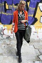 carrot orange blazer - black boots - heather gray sweater - black leggings