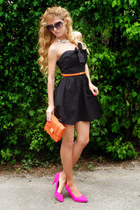 hot pink heels - black dress - carrot orange bag - hot pink bra