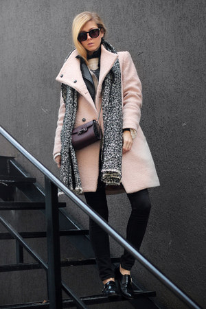 light pink Choies coat - black shoes - beige Choies scarf - crimson bag