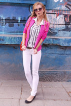 white jeans - hot pink blazer - white shirt - carrot orange bag - black flats