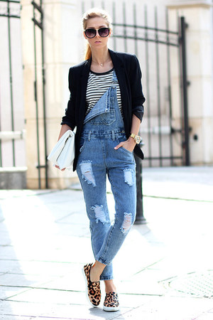 black blazer - sky blue denim dungaree Choies jeans