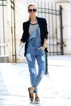 white stripe t-shirt Choies t-shirt - sky blue denim dungaree Choies jeans