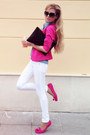 White-jeans-hot-pink-blazer-sky-blue-shirt-black-bag-hot-pink-loafers