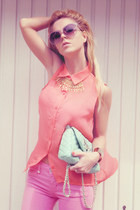 salmon top - pink jeans - aquamarine bag - ivory wedges