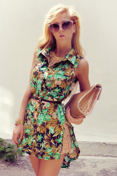 aquamarine Queens Wardrobe shirt - tan pull&bear bag - peach Zara shorts