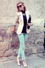 Beige-boots-aquamarine-jeans-neutral-blazer-black-bag-black-blouse