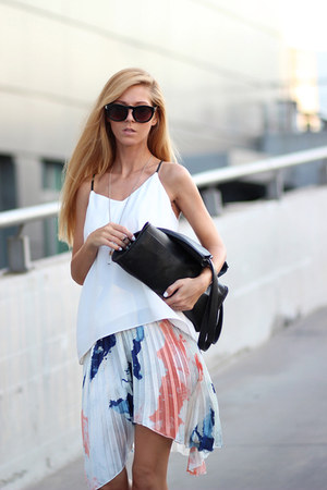 navy dip dye skirt Choies skirt - black bag - white Choies blouse