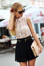 beige BangGood blouse - nude Parfois bag - black skort WOAKAO shorts