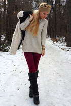 beige sweater - black boots - off white coat - crimson jeans - camel hat