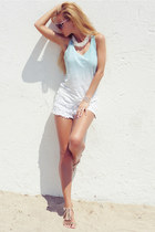 white shorts - aquamarine top - beige sandals
