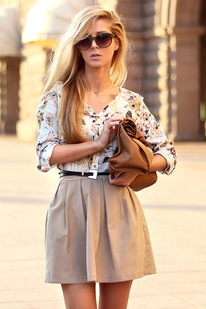 white Sheinside shirt - brown bag - army green sunglasses - camel skirt