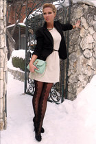 aquamarine bag - ivory dress - black blazer - black tights - black pumps