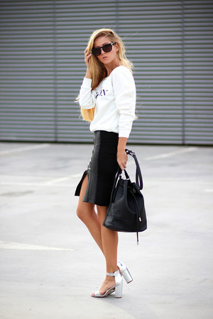 white Choies sweatshirt - black bag - silver sandals - black skirt