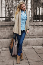 camel shoes - navy jeans - light blue shirt - black bag - beige cardigan