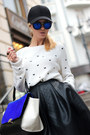 Black-hat-white-choies-sweater-blue-persunmall-bag-blue-woakao-sunglasses