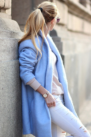 light blue blue lapel coat Choies coat - light pink ankle boots Gido boots
