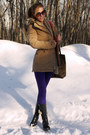 Tan-cardigan-black-boots-camel-coat-deep-purple-jeans-off-white-sweater