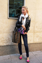 hot pink flats - navy jeans - black jacket - white scarf - purple blouse