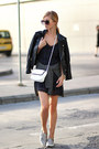 Navy-dress-black-jacket-white-bag