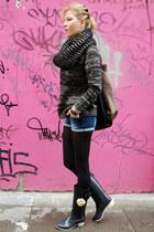 black boots - black sweater - camel scarf - light brown bag - blue shorts