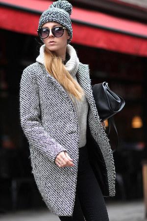 charcoal gray coat Sheinside coat - black hat - off white sweater