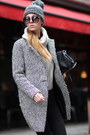 Charcoal-gray-coat-sheinside-coat-black-hat-off-white-sweater