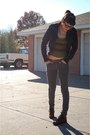 Dark-brown-boots-black-urban-outfitters-jacket-army-green-wet-seal-sweater