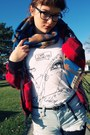 Blue-tribal-forever21-scarf-brown-thrifted-boots-red-vintage-jacket