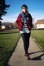 Brown-thrifted-boots-red-vintage-jacket-white-shark-shirt