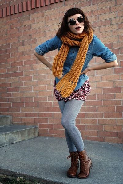 heather gray sweater UO tights - brown faux leather Wet Seal boots