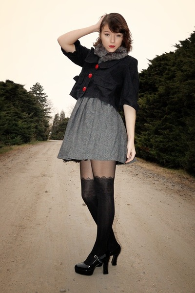 black altered jacket - gray Cooperative dress - gray faux fur Hot Topic scarf