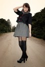 Gray-cooperative-dress-black-altered-jacket-gray-faux-fur-hot-topic-scarf