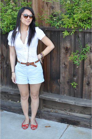 white shirt - blue thrifted shorts - red Sway shoes