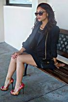 black b darlin dress - black hugo buscati blazer - red Aldo shoes - black Mommys