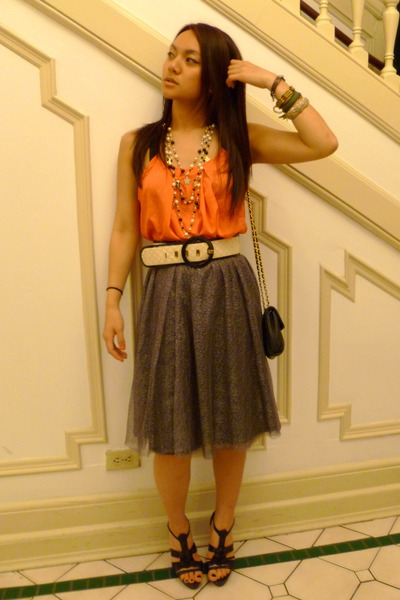 silver thrifted skirt - black shoes - orange Forever21 top - Forever21 necklace