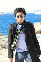 black X Trax coat - green Brice scarf - gray Guess top - blue Wrangler jeans - b