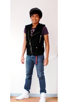 purple Cool Cat shirt - black Zara vest - black The Ramp hat - blue Wrangler jea