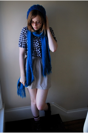 blue beret Urban Outfitters hat - gray booties Blowfish shoes
