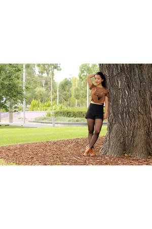 black polyester bloomingdales tights - black corduroy Urban Outfitters shorts