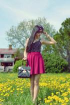 black bralet BikBok top - ruby red skirt H&M skirt